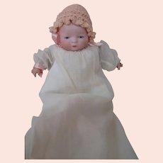 9.5 In. Tiny Byelo Baby, Designer Grace Storey Putnam, Blue Sleep Eyes, Original Cloth Body, ca:  1923