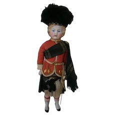 13 In. German Bisque Shoulder Head, Molded Hair, Scottish Costume Complete, 100% Original