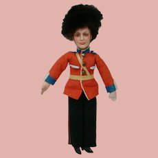 """14 Inch English Palace Guard, Composition Head, Flange Neck, Cloth Body, 100% Original, Paper Sticker """"Foreign"""""""
