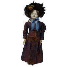Grand and Non-Retouched 32 In. So-Called French-Type Papier-Mache Lady, ca:  1835-1850
