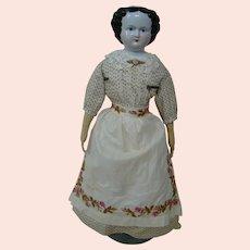 26-3/4 In. Black Hair China Shoulder Head, ca: 1860's