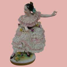 9 In. Porcelain Ballerina Dresden Lady with Comb, Blue Crown Mark