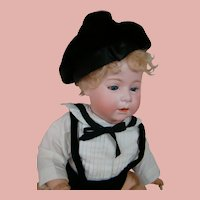 "17 In. German Bisque Head "" DIP "" Baby by Swaine & Co., Wigged, Glass Sleep Eyes, Open/Closed Mouth"