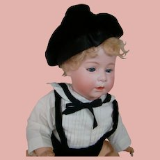 """17 In. German Bisque Head """" DIP """" Baby by Swaine & Co., Wigged, Glass Sleep Eyes, Open/Closed Mouth"""