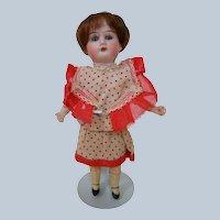 8 In. German Bisque Head Doll, All Original, Five Piece Comp Body, Cute Dress