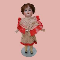 8 In. German Bisque Head Doll, All Original, Five Piece Comp Body, Cute Dress