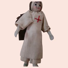 2-3/4 In. Rare and Early German All Bisque Dollhouse Doll in Nun's Red Cross Uniform