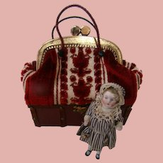 3-1/2 In. German All Bisque Doll Contained in Vintage Travel Bag Modele Saque de Voyage