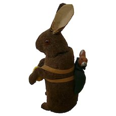 """8"""" Antique Wool over Paper Mache Rabbit Candy Container"""