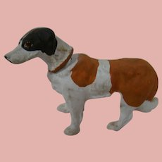 5-1/2 In. Long Vintage Paper Mache Dog Candy Container, Glass Eyes