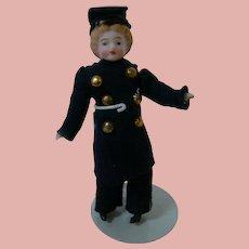 3-3/4 Inch German Bisque Shoulder Head Doll House Doll Policeman