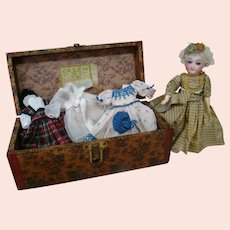 8-1/2 In. Antique Closed Mouth Bisque Socket Head Doll on Five-Piece Composition Body, Trunk and Wardrobe