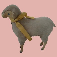 Doll Accessory, Wool and Wood Lamb with Painted Eyes