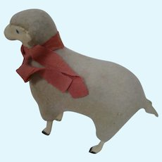 Doll Accessory Wool and Wood Lamb with Painted Eyes