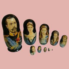 Hand Painted Russian Nesting Dolls, Czar Nicholas II, His Family and First Three Romanov Dynasty Czars