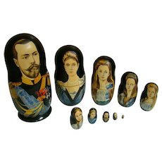 Hand Painted Russian Nesting Dolls, Czar Nicholas II, His Family and First Three Romanov Dynasty Czars