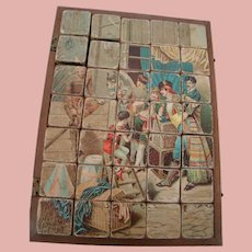 19th Century French Four (4) Wood Block Puzzles with Pictures