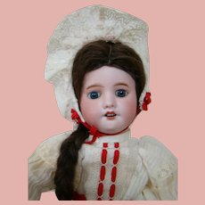 18 In. French SFBJ 60 Doll, Factory Original Body, Dress, Slip, Pantaloons, Wig