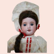 18 In. French SFBJ 60 Doll, Factory Original Body, Dress, Slip, Pantaloons, Wig