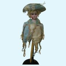 16 In. Original Bisque German Head Musical Marotte, Silk Brocade, Wide Brim Hat