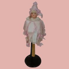 15.5 In. German Bisque Head Musical Marotte in Pink and White, Well Preserved Toy