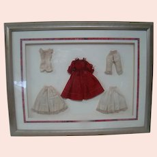 Shadow Box with Professionally Framed Original Antique Complete Fashion Ensemble