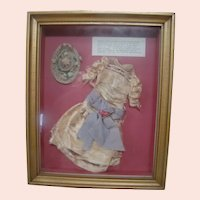 Shadow Box Professionally Framed Original and Antique Ensemble for a German Lady Doll