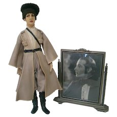 """27 In. Felt Character Doll Portraying Rudolph Valentino as Vladimir in the Film """"The Eagle"""""""