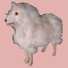 7 In. Antique White Fur Salon Dog, Glass Eyes