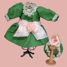 Cute Green Rayon Taffeta Dress, Pink Silk Bow and Matching Mob Hat for Small Doll