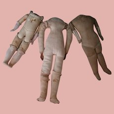 10 In. Antique Rivet Jointed Leather Body with Bisque Arms, Composition Lower Legs
