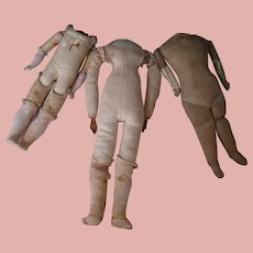 Antique 11 In. Stuffed Cloth Body with Leather Arms, Stitched Knee Joints and Stitch Shaped Feet