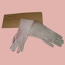 Antique Doll Size Soft Kid Gloves in Original Package for a French Fashion, German / French Bebe