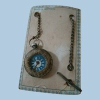 """Old Doll Watch on Chain """"Made in Germany"""" on Original Card"""