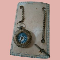 "Old Doll Watch on Chain ""Made in Germany"" on Original Card"