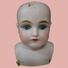 Antique Kestner Bisque Shoulder Head Mold #154, Blue Sleep Eyes, 10 In. H.C