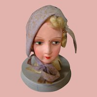 1920's Made in Germany Lavender Wooden Hat Display with Paper Mache Doll Head