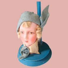 1920's Blue Wooden Hat Display with Paper Mache Doll Head at the Base, Made in Germany