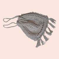 Beautiful Cotton Hand Crocheted Draw String Purse for Larger Dolls
