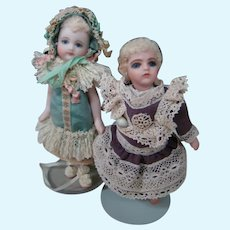 Two Adorable All Bisque Artist Dolls by Cathy Hansen, Glass Eyes, Swivel Necks