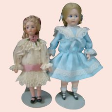Two Artist Dolls, One All Bisque, One Bisque Sh. Plate, Cloth Body, Bisque Arms, Legs