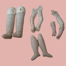 Miscellaneous Parts for Antique Doll Bodies, Leather, Cloth, Bisque