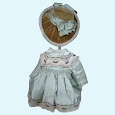 Lovely Antique Pale Green Silk Satin Bebe Dress and Hat