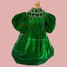 Green Velvet Christmas Dress for 26-28 Inch French Bebe or German Child Doll