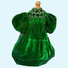 Green Velvet Christmas Dress for 26-28 Inch French Bebe or German Child Doll