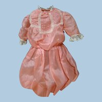 Lovely Coral and Ecru Lace Trimmed Dress for 24-26 In. Antique Doll