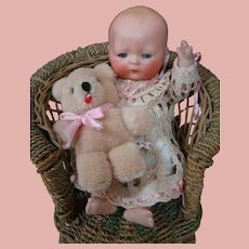9 In. All Bisque Character Tynie Baby, Ca: 1924, Beautiful, Perfect Rare Doll
