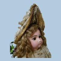 Unique French Couturier Designed Antique Hat for a Larger Size Doll