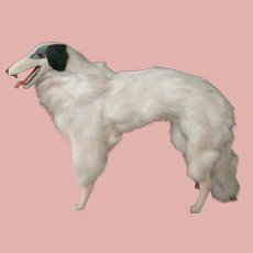 Large Borzoi Russian Wolfhound Parlor Dog for French Fashion, Glass Eyes, Two Fang-like Teeth