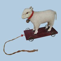 Doll Accessory Wool and Wood Lamb with Painted Eyes on Wooden Platform with Metal Wheels